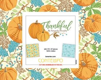 Thankful 10-Inch Layer Cake Precut, Cotton Quilting Fabric,Autumn Fabric, Fall Fabric, 42 Pieces, Amanda Murphy, Benartex,