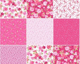 Love Pink Fat Quarter Bundle Precut Cotton Quilting Fabric, Floral Fabric, 7 Pieces, Rosemarie Lavin, Windham.