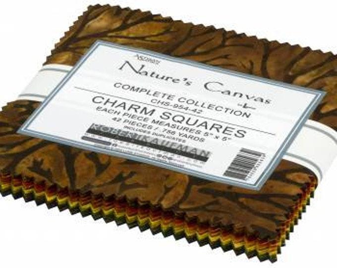 Nature's Canvas Batik 5-Inch Squares Charm Pack, 42 Pieces, Lunn Studios Collection, Robert Kaufman, Cotton Quilt Fabric, Autumn Fabric