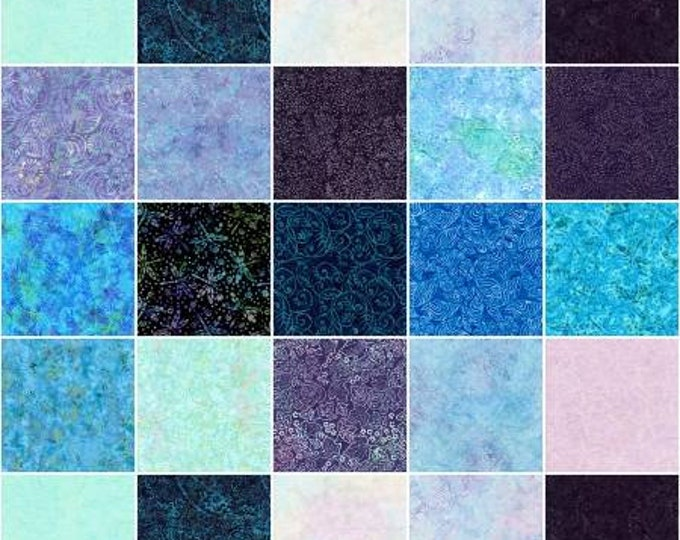 Tonga Batik Fantasy 5-Inch Squares Charm Pack, 40 Pieces, Timeless Treasures, Precut Quilt Fabric, Batik Fabric