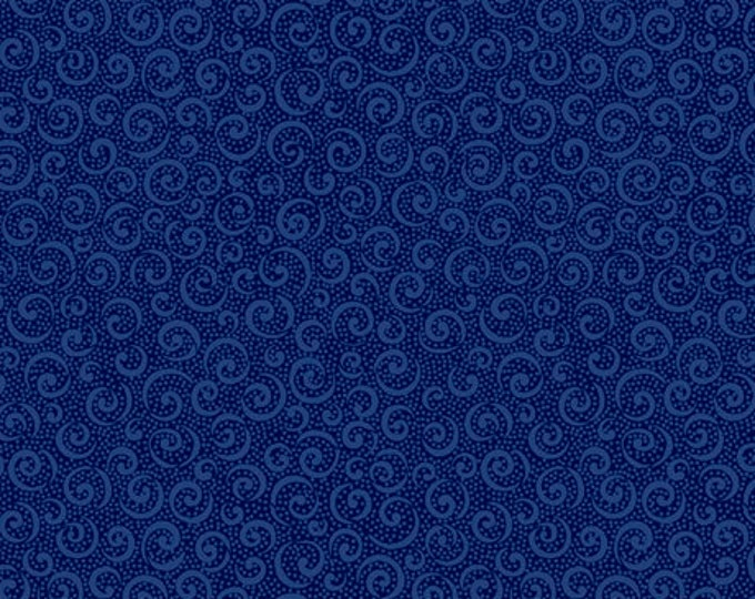 Remnant 3/4-Yard Illusions Colours Curly Cue Navy  Cotton Quilting Fabric, Swirl Fabric, Quilting Treasures.