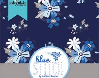 Blue Stitch 10 Inch Squares Layer Cake, 42 Pieces, Tattooed Quilter, Riley Blake Designs, Precut Cotton Quilt Fabric, Floral Fabric
