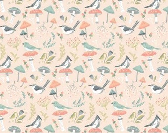 Cut Continuously WS20309 Mushroom Toss Peach WOODLAND SONGBIRD by Poppie Cotton 12 Yard Increments