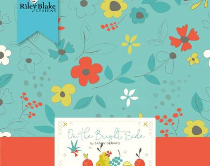 On the Bright Side 2 1/2 Inch Strips Jelly Roll Precut Cotton Quilting Fabric, Floral Fabric, 40 Pieces, Sandy Gervais, Riley Blake Designs.