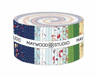 Red, White & Bloom 2-1/2 Inch Strips Jelly Roll Fabric Yardage, Kimberbell Designs, Maywood Studio, Cotton Quilt Fabric, Patriotic Fabric