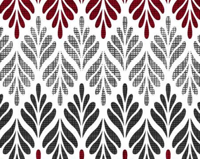Remnant 1/4-Yard Black, White & Red Hot White Chevron Fern Cotton Quilting Fabric, Floral Fabric, Color Principle Studio, Henry Glass