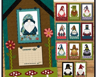 Gnome for the Holidays Calendar Applique Pattern, #WCC440, Leanne Anderson, The Whole Country Caboodle, Gnome Applique