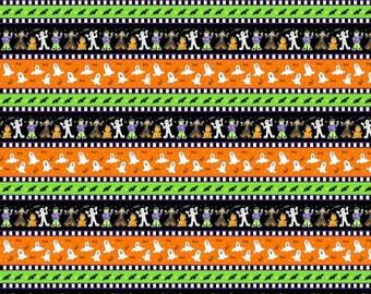 Here We Glow Multi Border Stripe Glow in the Dark Fabric Yardage, Delphine Cubitt, Henry Glass, Cotton Quilt Fabric, Halloween Fabric