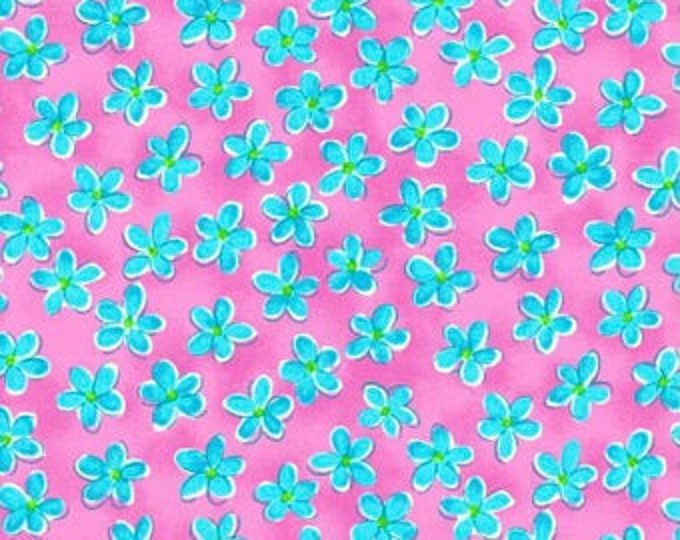 Whimsy Daisical Small Blue Daisies Fabric Yardage, Keri Schneider, Blank Quilting, Cotton Quilt Fabric, Floral Fabric