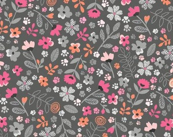 Meowlogical Grey Garden Paws Cotton Quilting Fabric Yardage, Michael Miller, Floral Fabric
