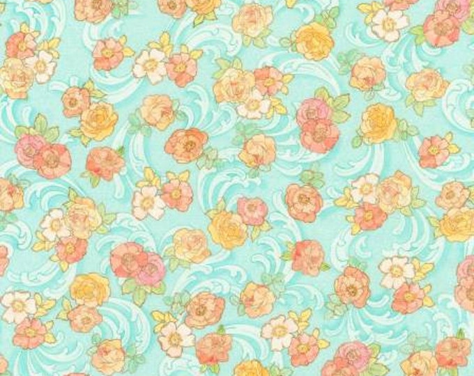 Remnant 3/4-Yard Alphonse Mucha Blue Garden Floral Digitally Printed Cotton Quilting Fabric, Floral Fabric, Robert Kaufman