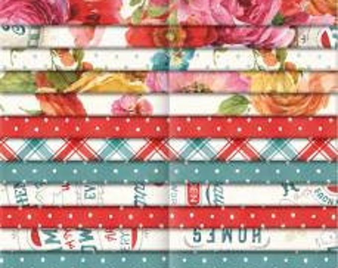 Roots of Love 2-1/2 Inch Strips Jelly Roll, 40 Pieces, Lisa Audit , Wilmington Prints, Cotton Quilt Fabric, Floral Fabric