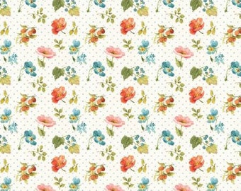 Roots of Love Ivory Small Floral Fabric Yardage, Lisa Audit Collection, Wilmington Prints, Cotton Quilt Fabric, Floral Fabric