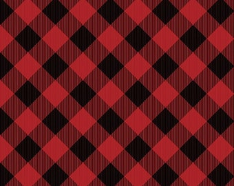 Gnomantics Buffalo Red Plaid Fabric Yardage, Jennifer Pugh, Wilmington Prints, Cotton Quilt Fabric
