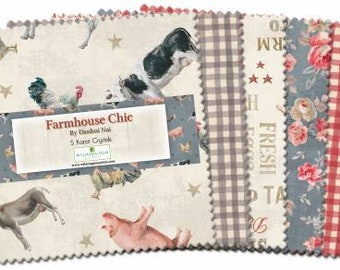 Farmhouse Chic 5-Inch Squares Charm Pack, 42 Pieces, Danhui Nai, Wilmington Prints, Cotton Quilt Fabric