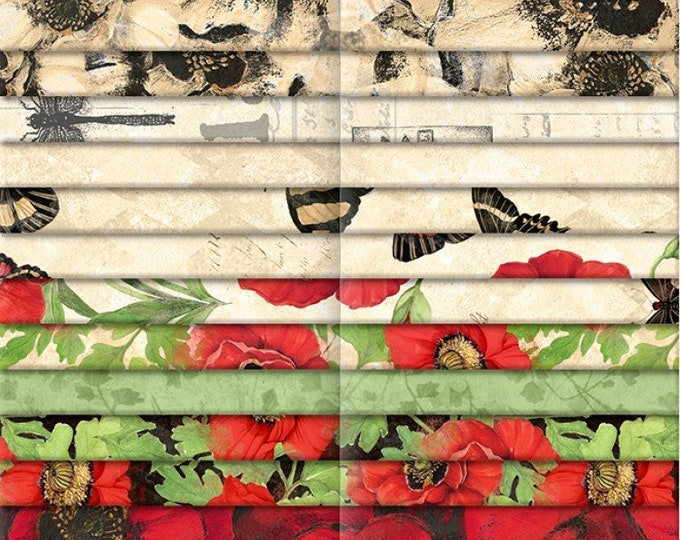 """Harlequin Poppies 2 1/2 """" Strips Jelly Roll, 40 Pieces, Susan Winget, Wilmington Prints, Cotton Quilt Fabric, Precut Fabric, Floral"""