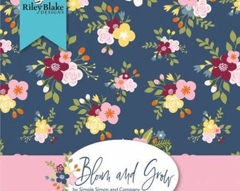 Bloom and Grow Fat Quarter Bundle, 18 Pieces, Cotton Quilt Fabric, Simple Simon and Co., Riley Blake Designs, Floral Fabric
