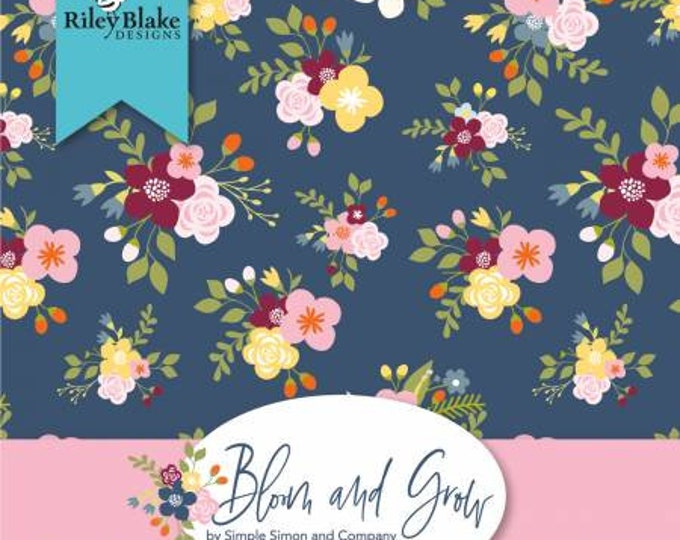 Bloom and Grow 2 1/2 Inch Strips Jelly Roll, 40 Pieces, Cotton Quilt Fabric, Simple Simon and Co., Riley Blake Designs, Floral Fabric