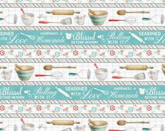 Remnant 1/2-Yard Homemade Happiness Multi Repeating Stripe Cotton Quilting Fabric, Kitchen Fabric, by Danhui Nai, from Wilmington Prints.