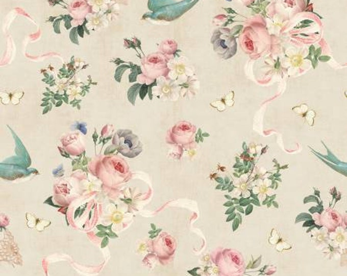 Remnant 1-Yard Rose Violet's Garden Main Parchment Fabric Yardage, Cotton Quilting Fabric, Riley Blake Designs, Floral Fabric, Rose Fabric