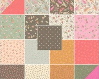 Blythe Fat Quarter Bundle Precut Cotton Quilting Fabric, Floral Fabric, Paisley Fabric, 19 Pieces, Whistler Studios, Windham.