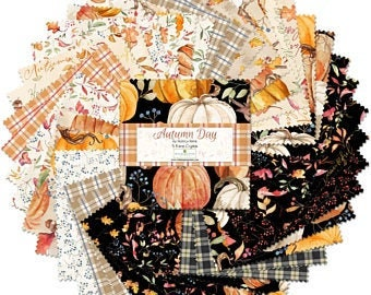 Autumn Day 5-Inch Squares Charm Pack, Nancy Mink, Wilmington Prints, Cotton Quilting Fabric, Autumn Fabric