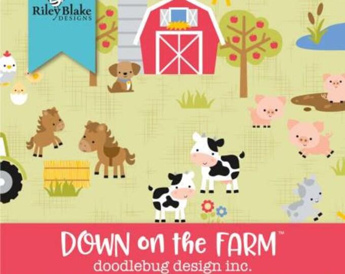 Down on the Farm 2-1/2 Inch Strips Jelly Roll, 42 Pieces, Doodlebug, Riley Blake Designs, Precut Cotton Quilt Fabric, Farm Fabric