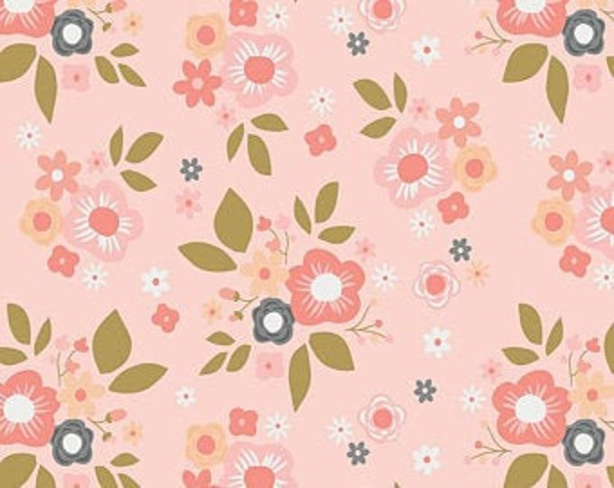 Remnant 1-2/3 Yards A Little Bit of Sparkle Main Pink Cotton Quilting Fabric, Floral Fabric, Zoe Pearn, Riley Blake Designs