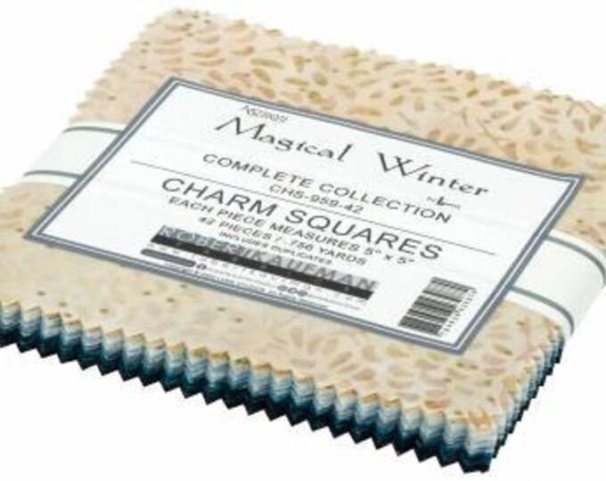 Magical Winter Batik 5-Inch Squares Charm Pack, 42 Pieces, Lunn Studio, Robert Kaufman, Cotton Quilt Fabric, Batik Fabric