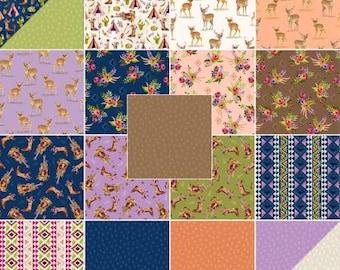 Wanderer's Weekend Fat Quarter Bundle Precut Cotton Quilting Fabric, Deer Fabric, 19 Pieces, Windham, Whistler Studios.