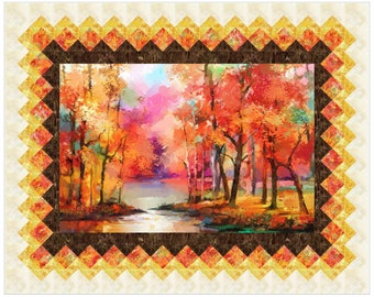 "September Morning Quilt Pattern, Lisa Alley of Bear Hug Quiltworks, Finishes 60"" x 48"""