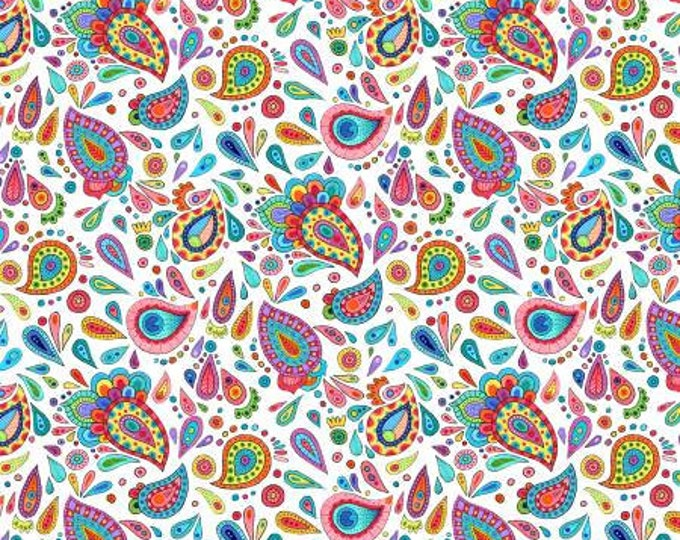 Remnant 1-Yard Live Out Loud White Paisley Toss Cotton Quilting Fabric, Floral Fabric, Hello Angel, Wilmington Prints