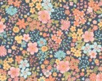 Remnant 1/2-Yard Sunlit Blooms Navy Moonlight Floral Cotton Quilting Fabric, Mask Fabric, Floral Fabric, Maywood Studio.