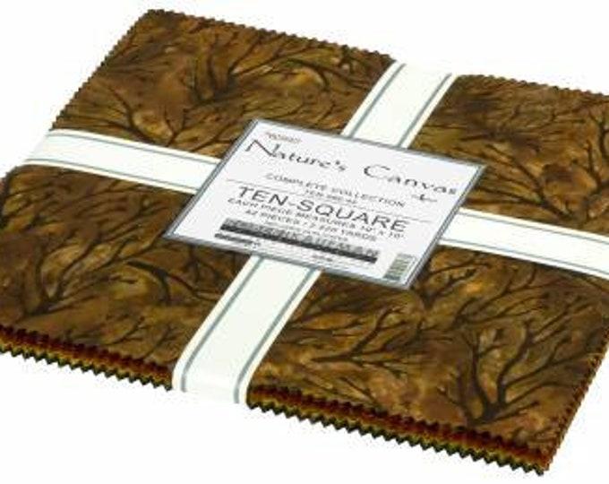 Nature's Canvas Batik 10 Inch Squares Layer Cake, 42 Pieces, Lunn Studios, Robert Kaufman, Cotton Quilt Fabric, Batik Fabric