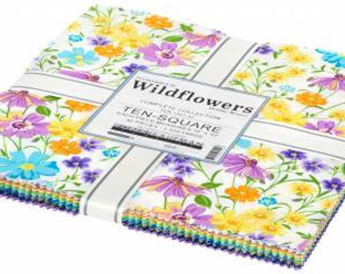Wildflowers 10-Inch Squares Layer Cake, 42 Pieces, Debbie Beaves, Robert Kaufman, Cotton Quilt Fabric, Floral Fabric