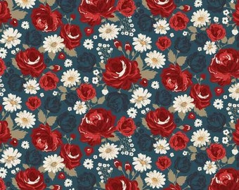 Remnant 1-Yard American Legacy Cotton Quilting Fabric, Floral Fabric, Dani Mogstad, Riley Blake Designs.