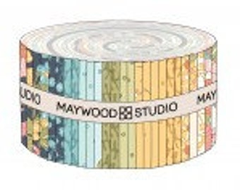 Sunlit Blooms 2-1/2 Inch Strips Jelly Roll, 40 Pieces, Maywood Studio, Precut Cotton Quilting Fabric, Floral Fabric