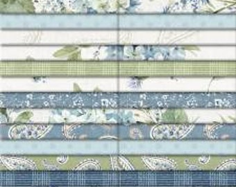 Bohemian Blue 2-1/2 Inch Strips Jelly Roll, 40 Pieces, Lisa Audit, Wilmington Prints,  Precut Cotton Quilting Fabric, Floral Fabric