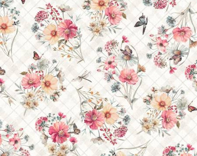 Country Weekend Taupe Bouquet Toss Fabric Yardage, Lisa Audit Collection, Wilmington Prints, Cotton Quilt Fabric, Floral Fabric