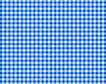 Remnant 1-Yard Sorbet Essentials Gingham Royal Blue, Cotton Quilting Fabric, Gingham Fabric, Quilting Treasures