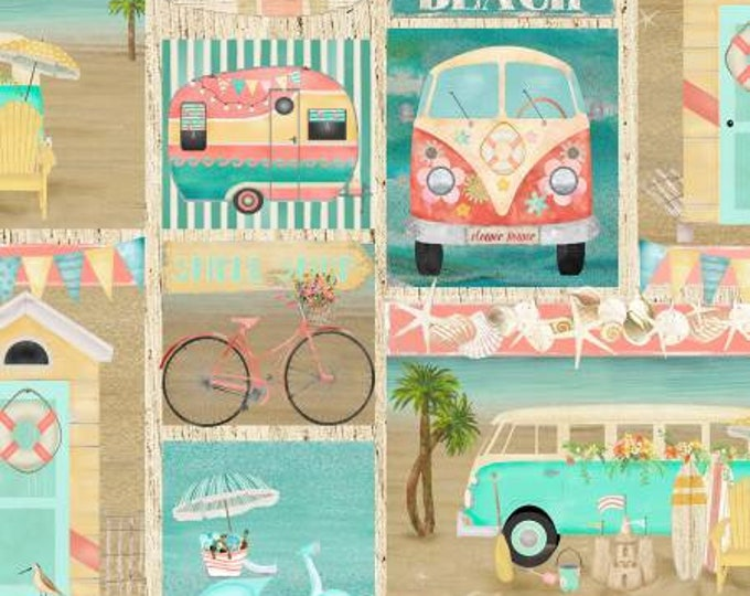 Beach Travel Multi Patch Fabric Yardage, 3 Wishes, Beth Albert, Cotton Quilting Fabric, Beach Fabric