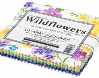 Wildflowers 5-Inch Squares Charm Pack, 42 Pieces, Debbie Beaves, Robert Kaufman, Cotton Quilt Fabric, Floral Fabric