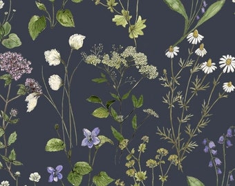 Midsummer Meadow Sweet Graphite Fabric Yardage, Hackney and Company, Windham Fabrics, Cotton Quilting Fabric, Floral Fabric