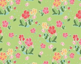 Strawberry Honey Main Keylime Fabric Yardage, Gracey Larson, Riley Blake Designs, Cotton Quilt Fabric, Floral Fabric