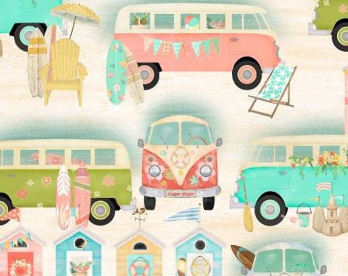 Beach Travel Sand Vintage Bus Fabric Yardage, 3 Wishes, Beth Albert, Cotton Quilting Fabric, Beach Fabric