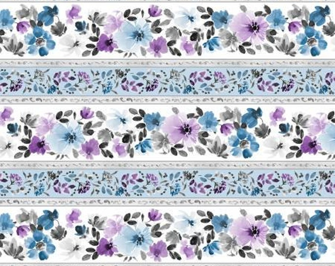 Remnant 3/4-Yard Awakenings Multi Repeating Stripe Quilt Fabric Yardage, Stephanie Ryan, Wilmington Prints, Cotton Quilt Fabric, Floral