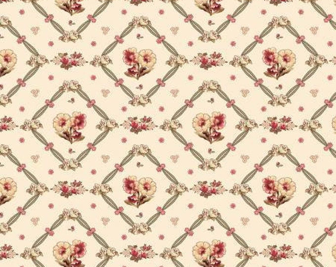 Remnant 3/4-Yards Bricolage Ivory Floral Trellis Quilt Fabric, Floral Fabric, Kaye England, Wilmington Prints.