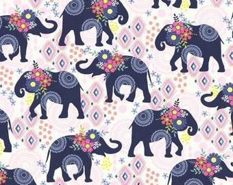Bungalow Navy Elephant Trunk Show Fabric Yardage, Michael Miller, Cotton Quilt Fabric Yardage, Elephant Fabric