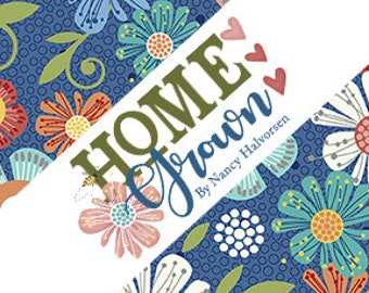 Home Grown 10-Inch Layer Cake, Precut Cotton Quilting Fabric, Floral Fabric, Awesome 42 Pieces, Nancy Halvorsen, Benartex.