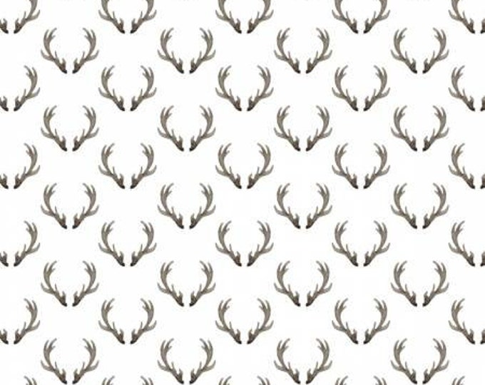 Remnant 3/4-Yard Winter Fabric, Winter Woods Antlers on White Fabric Yardage, Quilting Fabric, Sarah B. Collection, Camelot Fabrics.